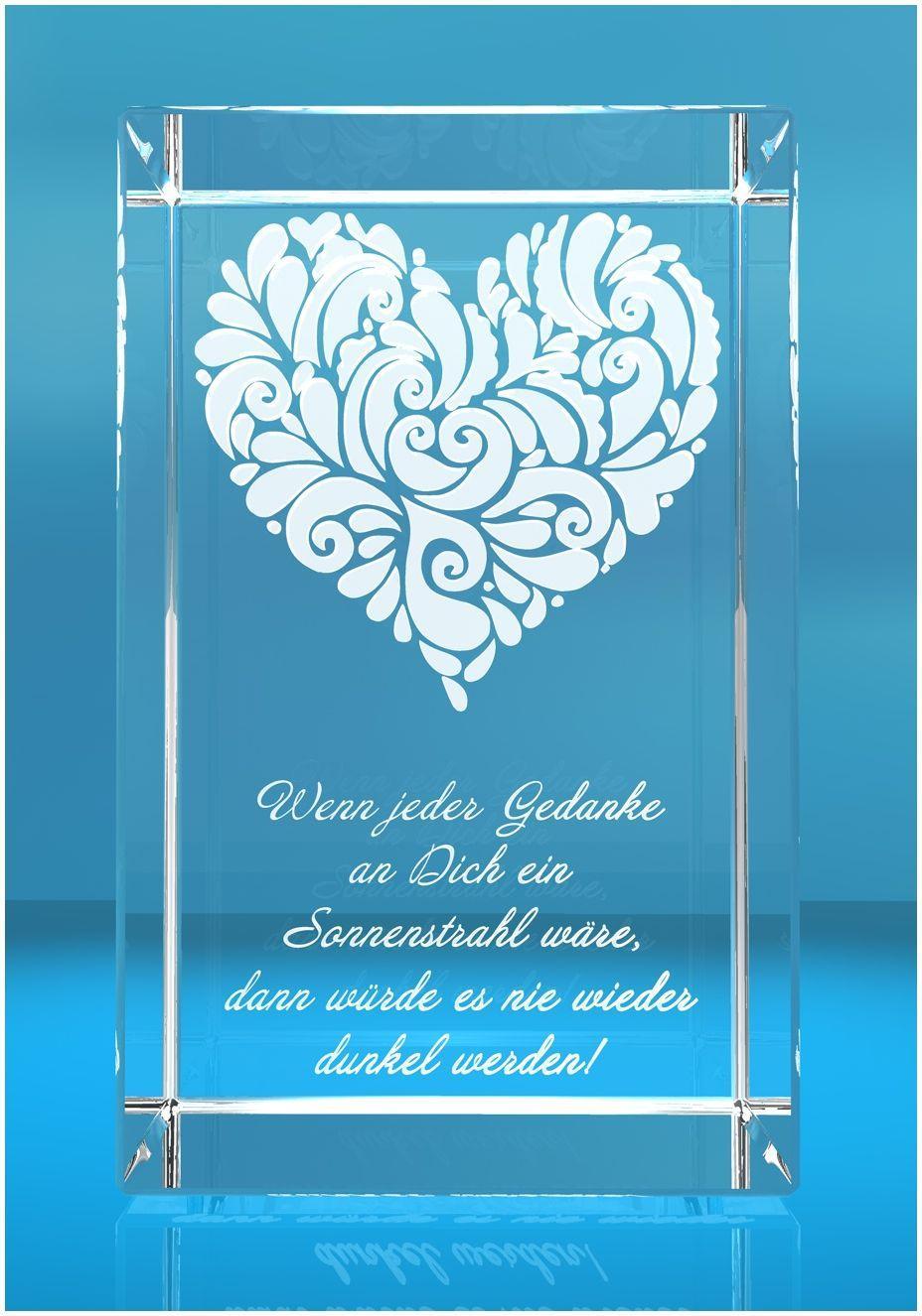 3D Glasquader   verziertes Herz   Wenn jeder Gedanke an Dich...