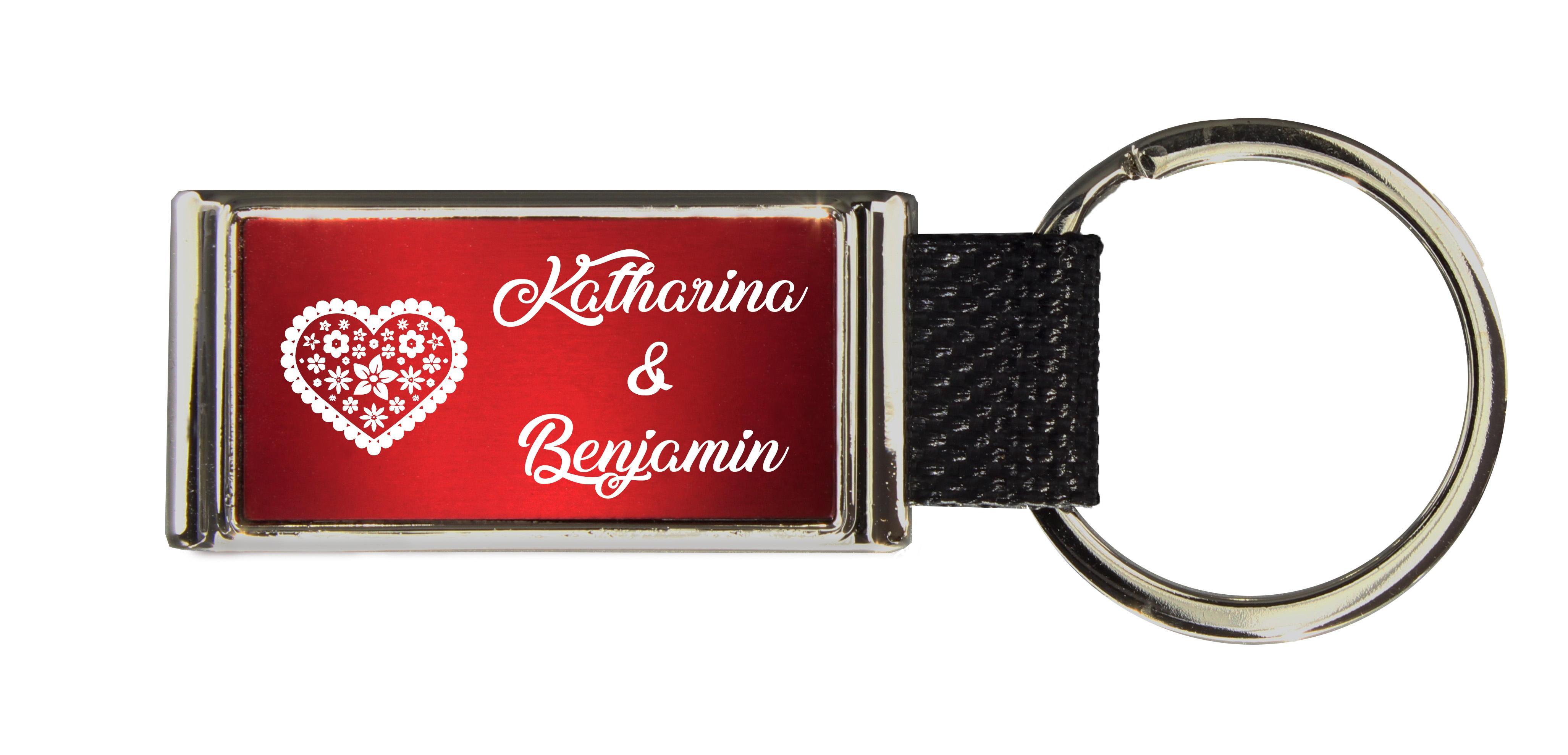 Schlüsselanhänger GLORIA   Liebesmotiv mit 2 Namen graviert   Motiv M006