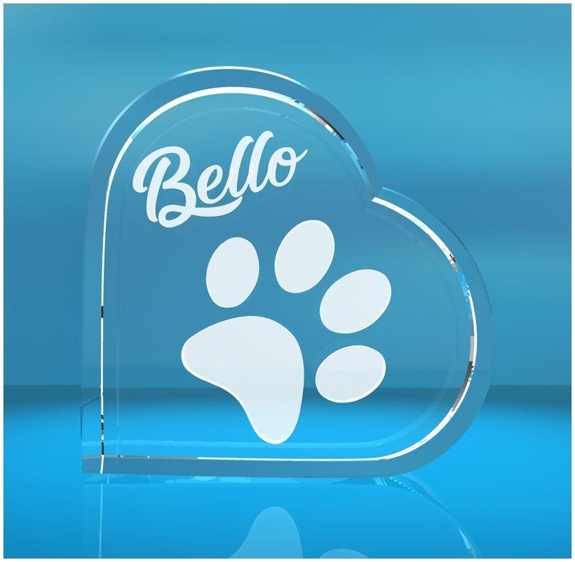 3D Glasherz I Hundepfote + Wunschtext