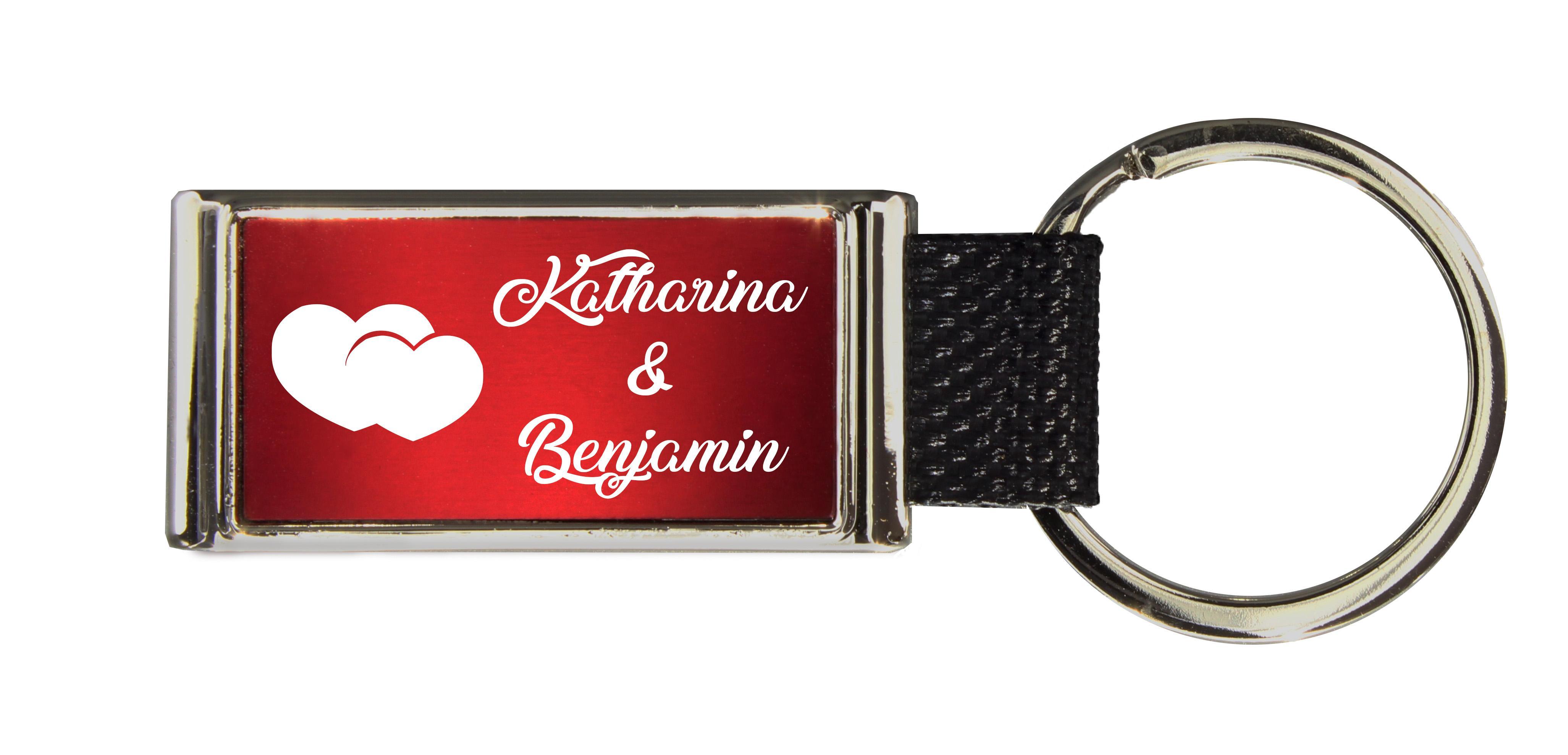 Schlüsselanhänger GLORIA   Liebesmotiv mit 2 Namen graviert   Motiv M007