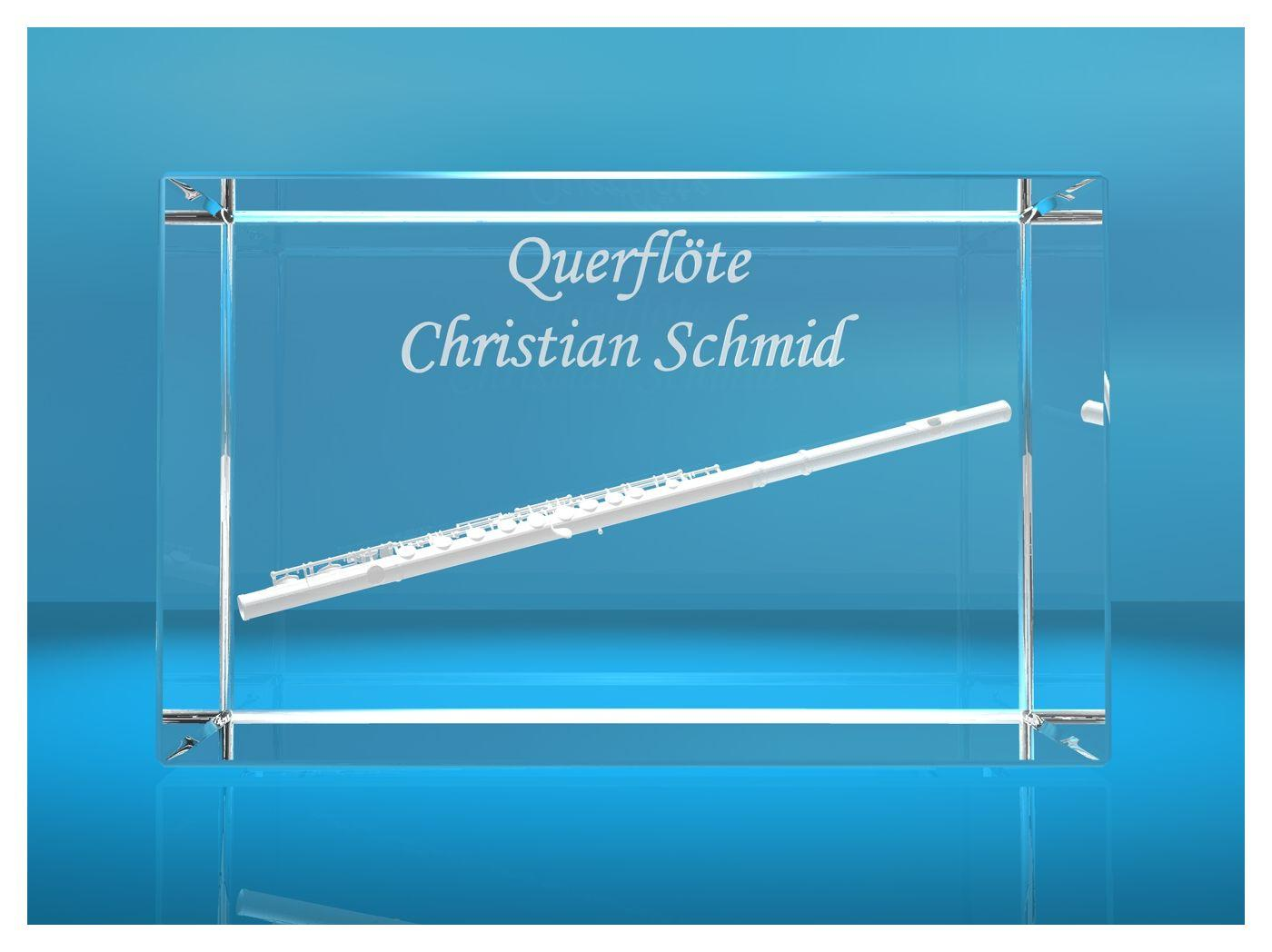 3D Glasquader |Querflöte mit Wunschnamen |Flöte |Geschenk für Flötisten Flöstistin Musiker Orchester|Konzertflöte