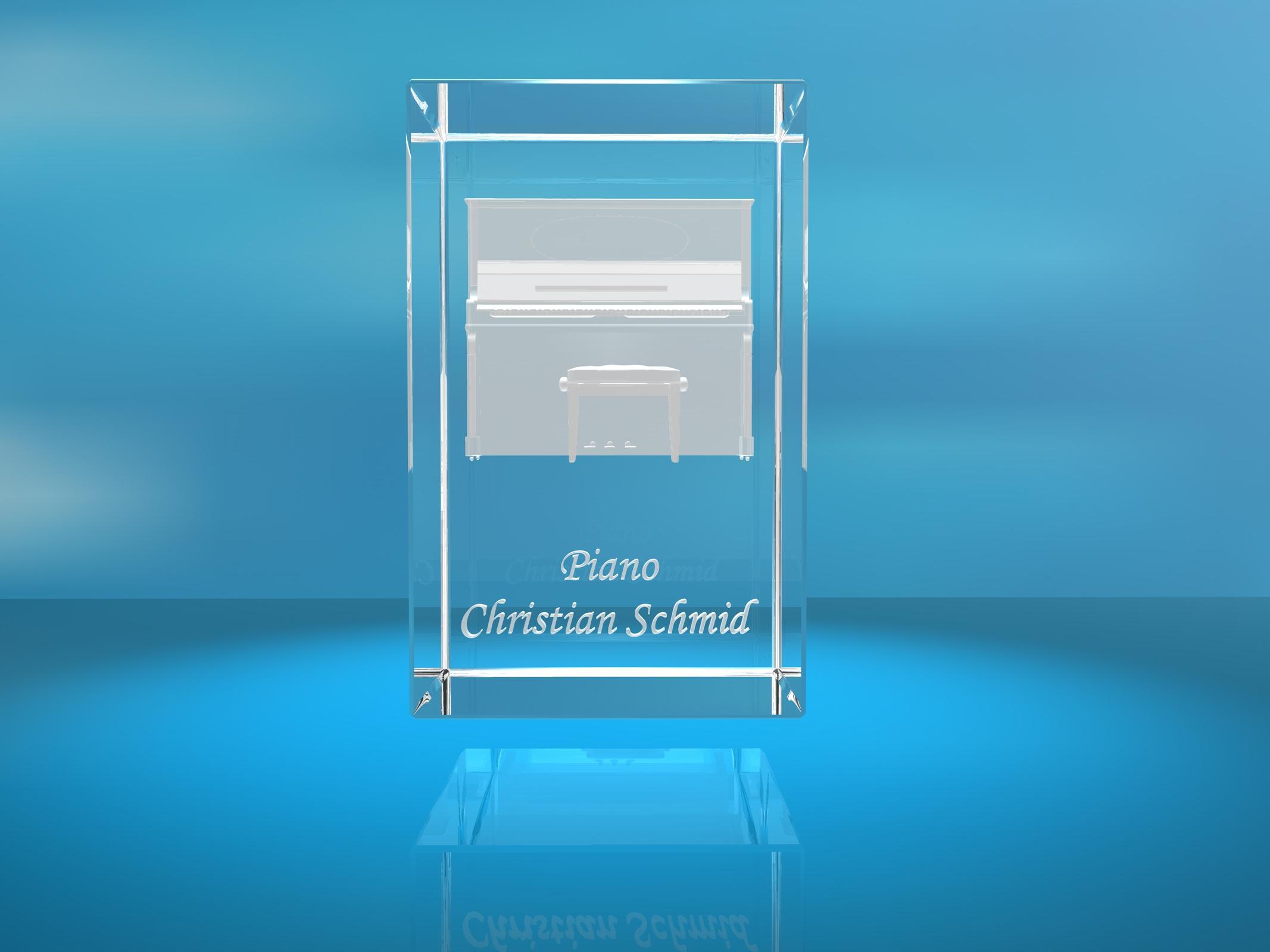 3D Glasquader |Piano mit Wunschnamen |Klavier |Geschenk für Pianisten Musiker Orchester