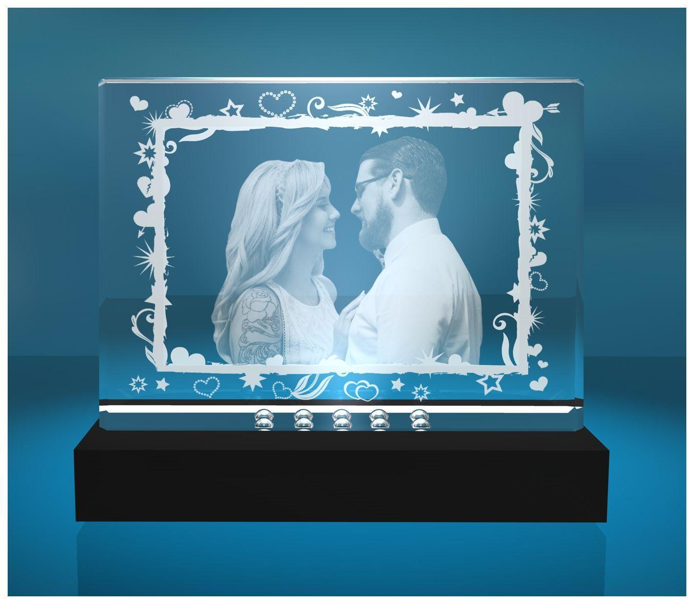 2D Glasfoto Fotoframe XL Motiv Rahmen aus Sternen und Herzen mit Deinem Wunschfoto