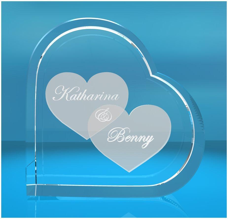 2D Glasherz   Motiv: mit zwei großen Herzen + Wunschtext incl. LED-Leuchtsockel