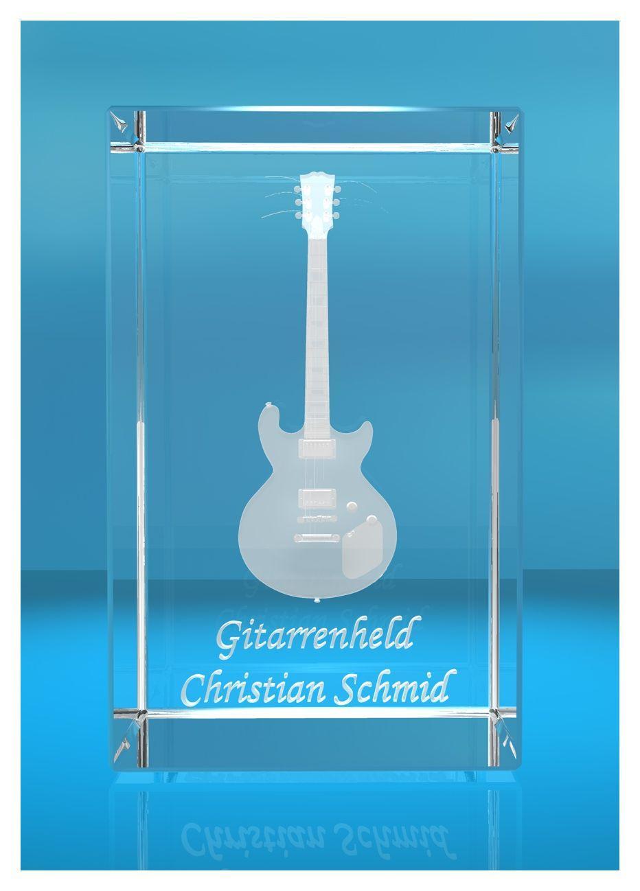 3D Glasquader | Gitarre No. 4 mit Wunschnamen | Geschenk für Gitarrist | Musiker | Bandmitglied | E-Gitarre