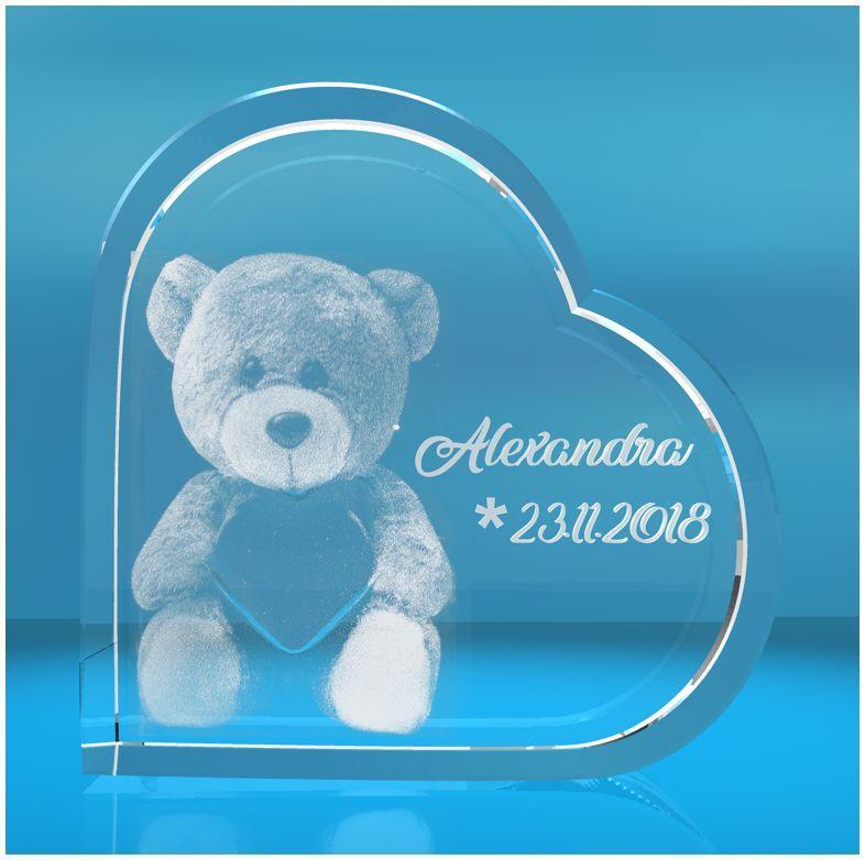 3D Glasherz   Motiv: Teddy + Namen + Datum