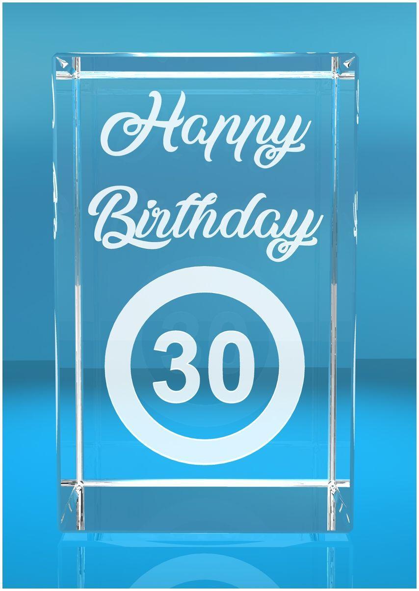VIP-LASER   2D Glaskristall   Verkehrszeichen Happy Birthday   Dein Jahr