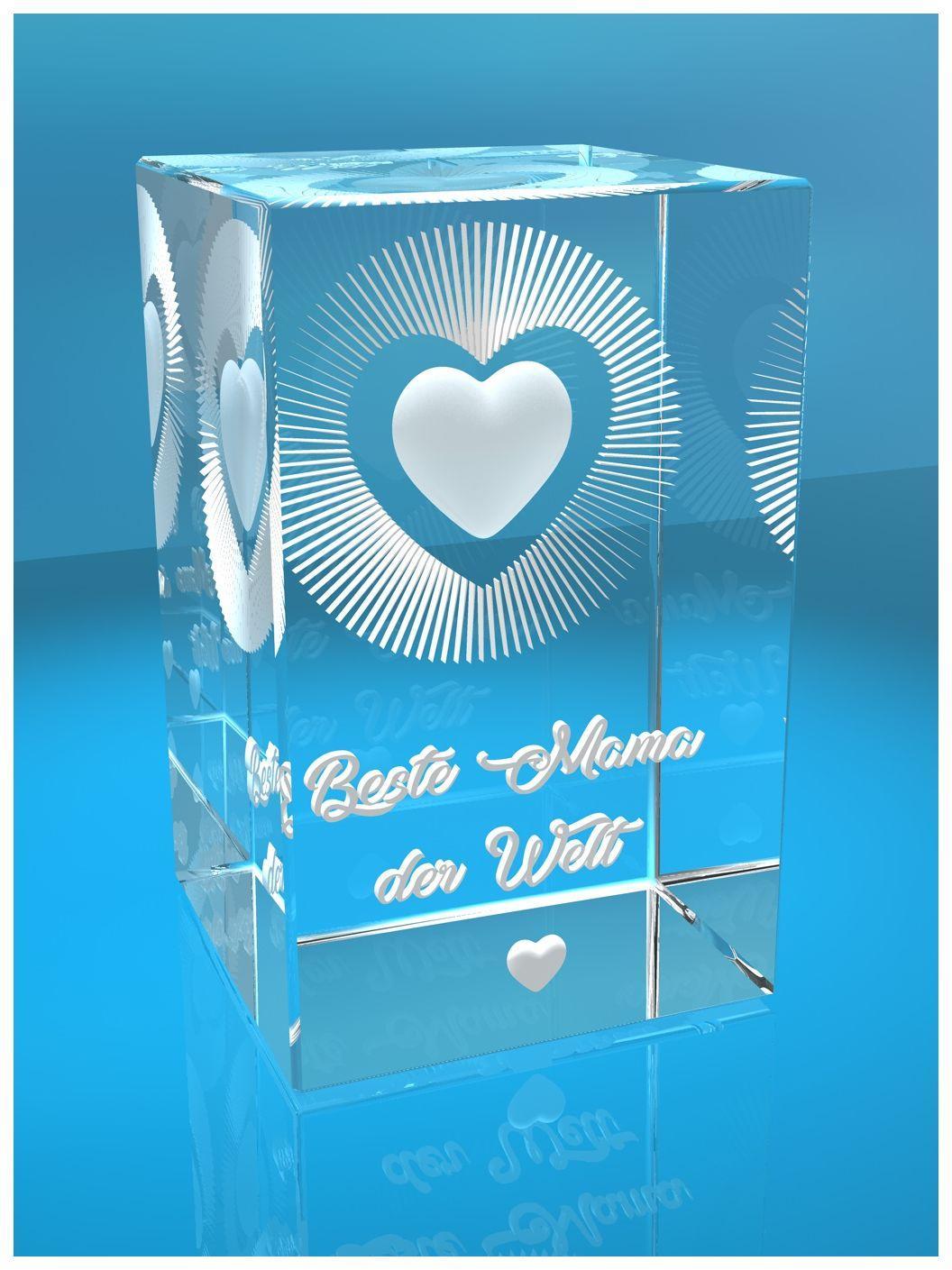 3D Glas Kristall I Beste Mama der Welt I Herz I Geschenk zum Muttertag Geburtstag Weihnachten I Muttertagsgeschenk I Beste Mutter Mutti I Best Mom I Geschenk Für Mama Mütter I Mami I Schwiegermama I Danke