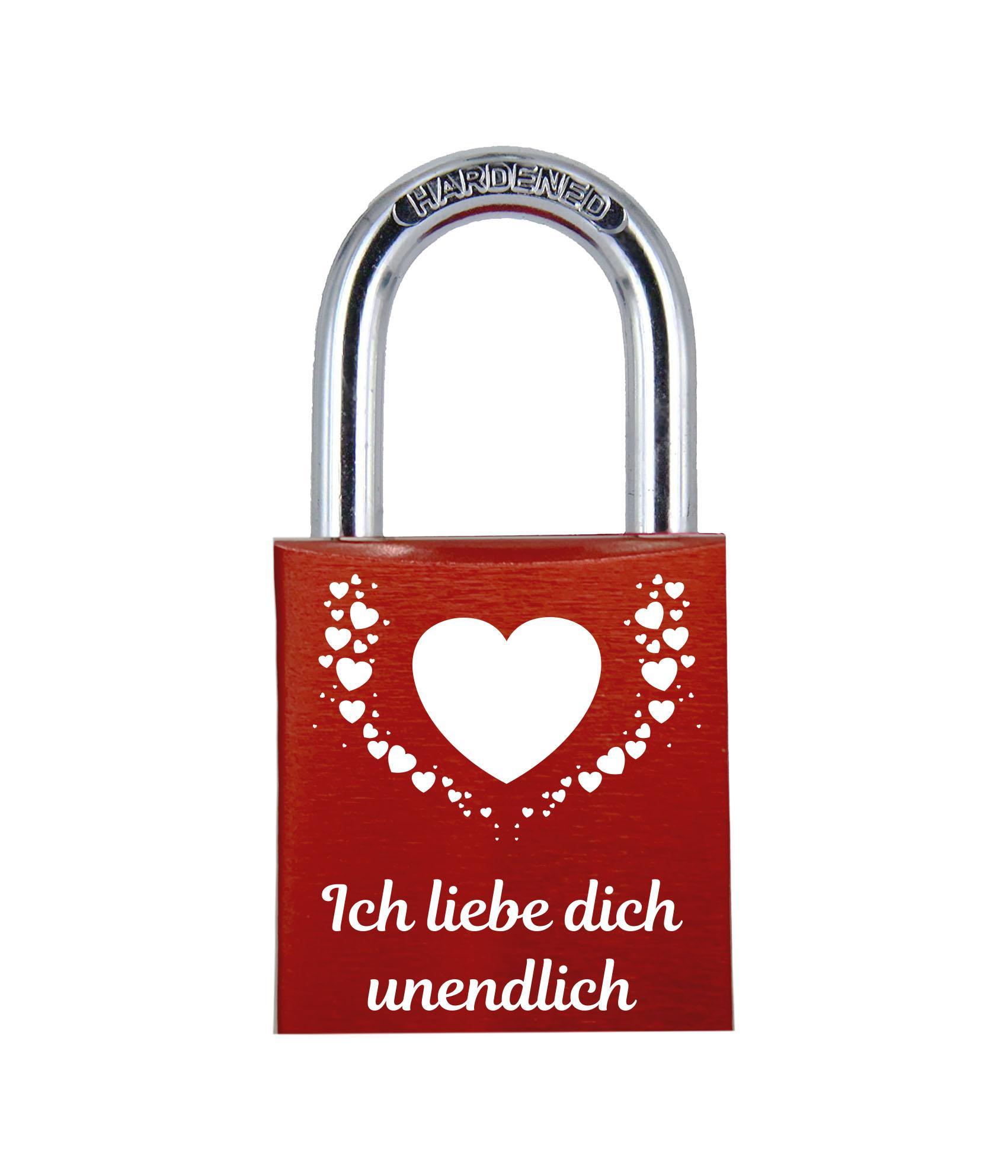 ELUNO Liebesschloss mit Text ich liebe dich unendlich und vielen Herzen graviert! Farbe: Rot Motiv: M015