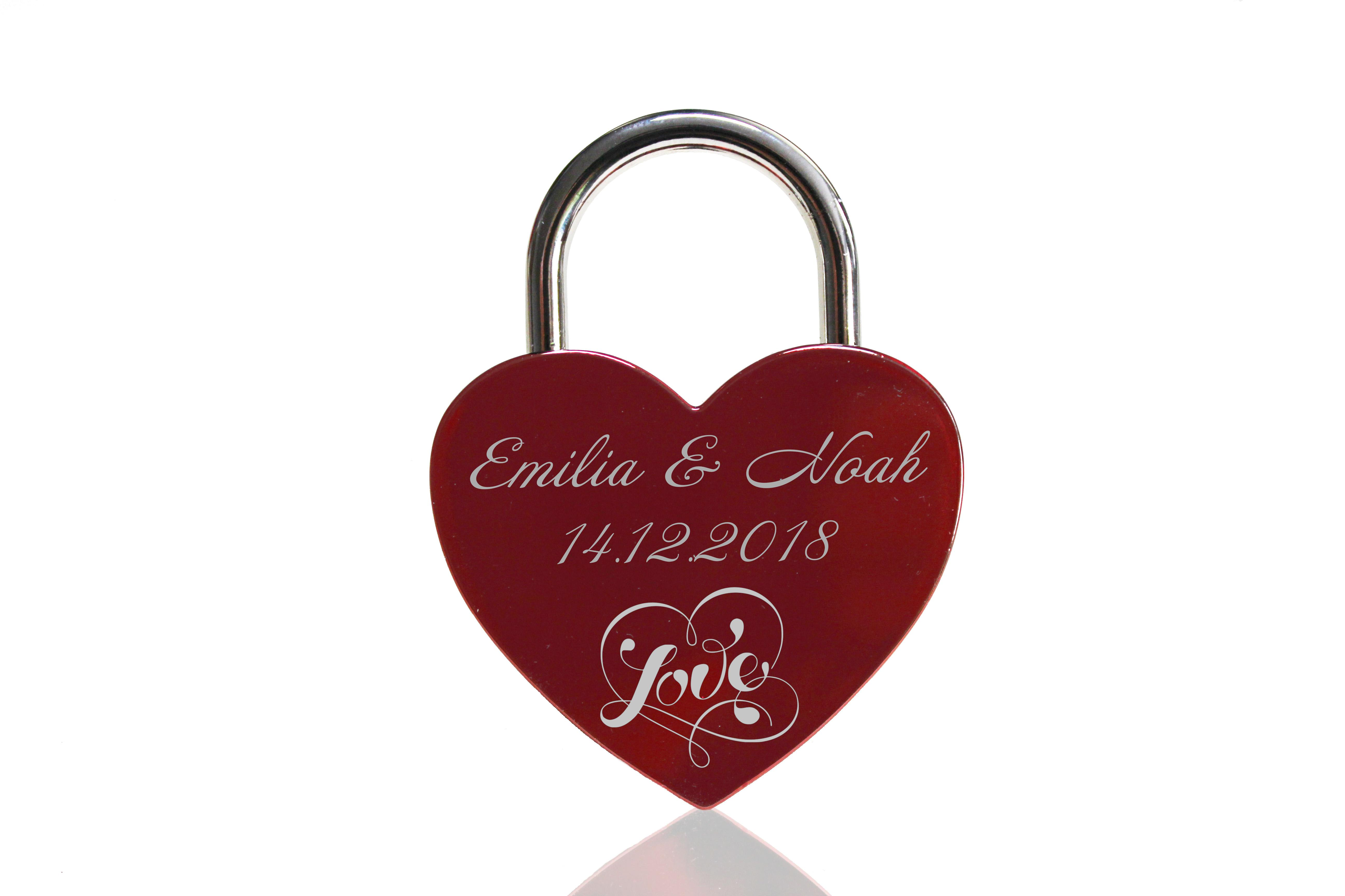 ELUNO Herz Liebesschloss mit Gravur und Schlüssel zum Valentinstag Geburtstag