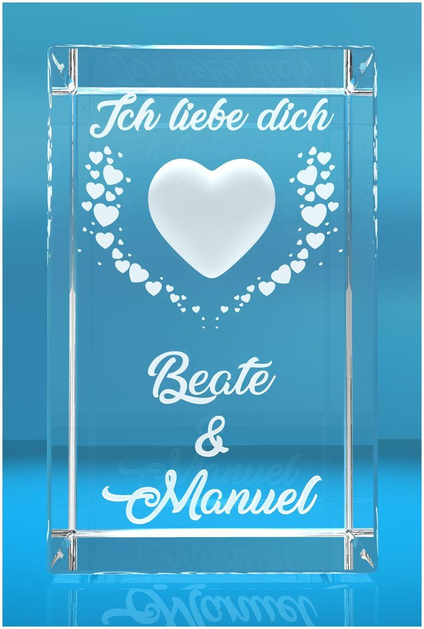 3D Glasquader   Motiv: Fliegende Herzen mit Text Ich liebe Dich! + Namen der Partner graviert