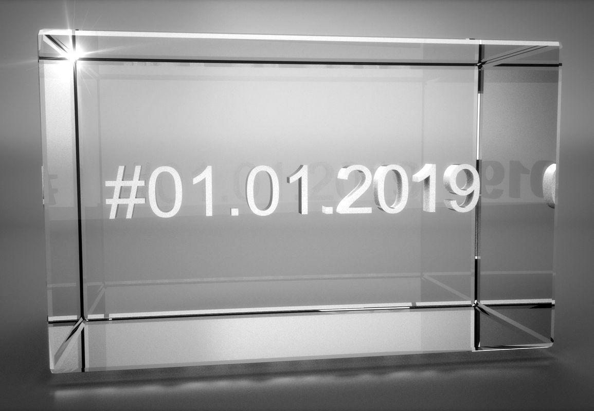 3D Glasquader   Motiv Hashtag   Wunschdatum