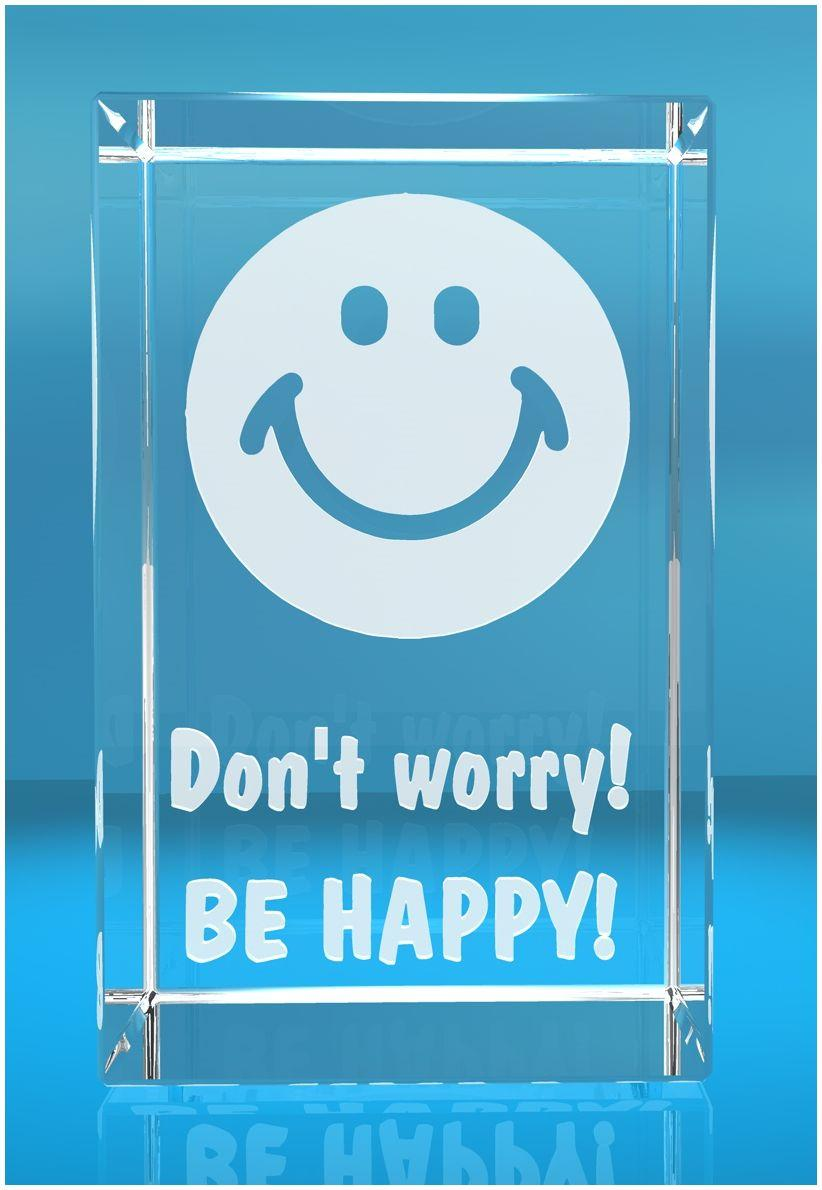 VIP-LASER 3D Glas Kristall Quader XL Smiley mit Text Dont Worry be happy