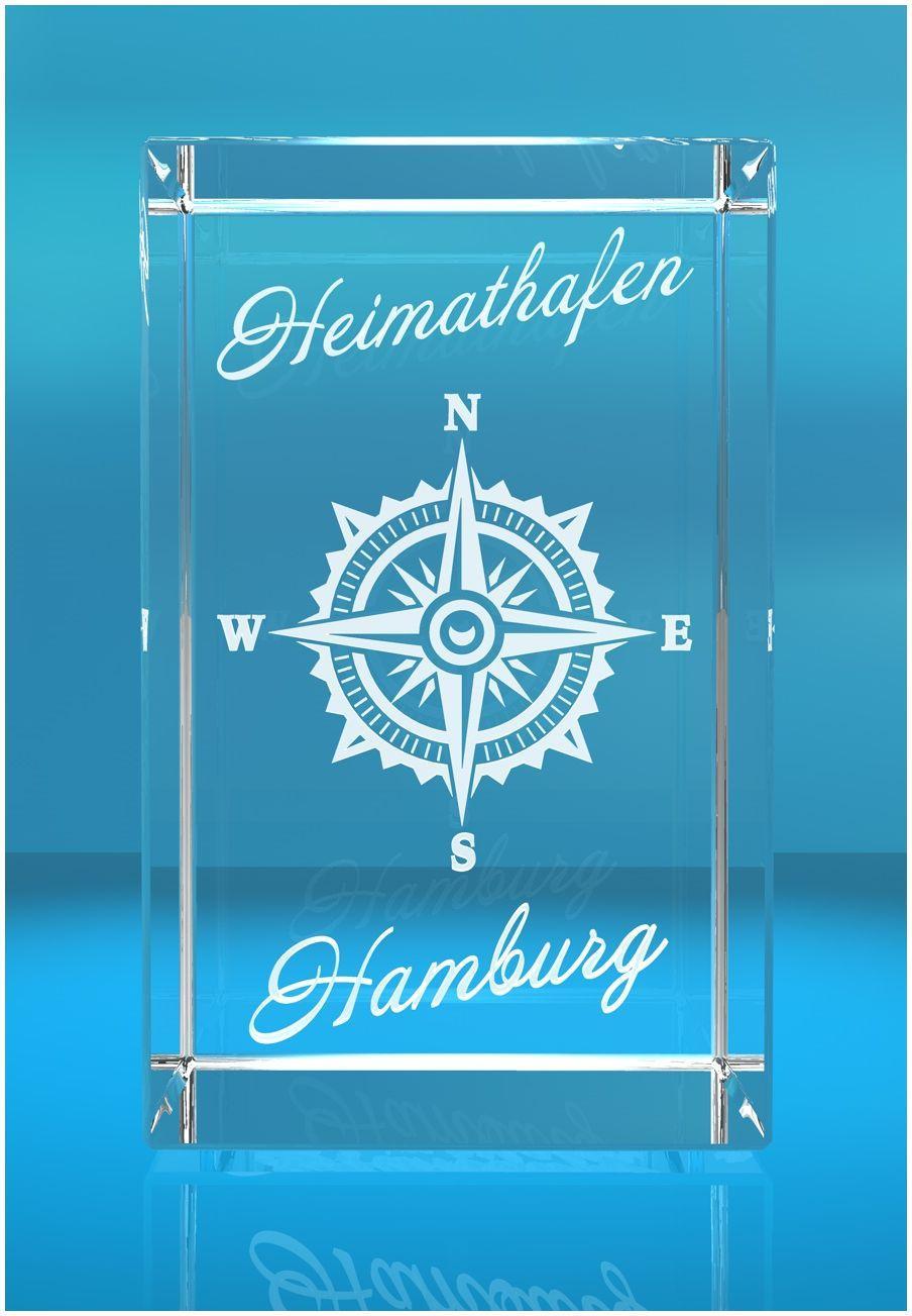 3D Glasquader I Hamburg I Windrose mit Text Heimathafen