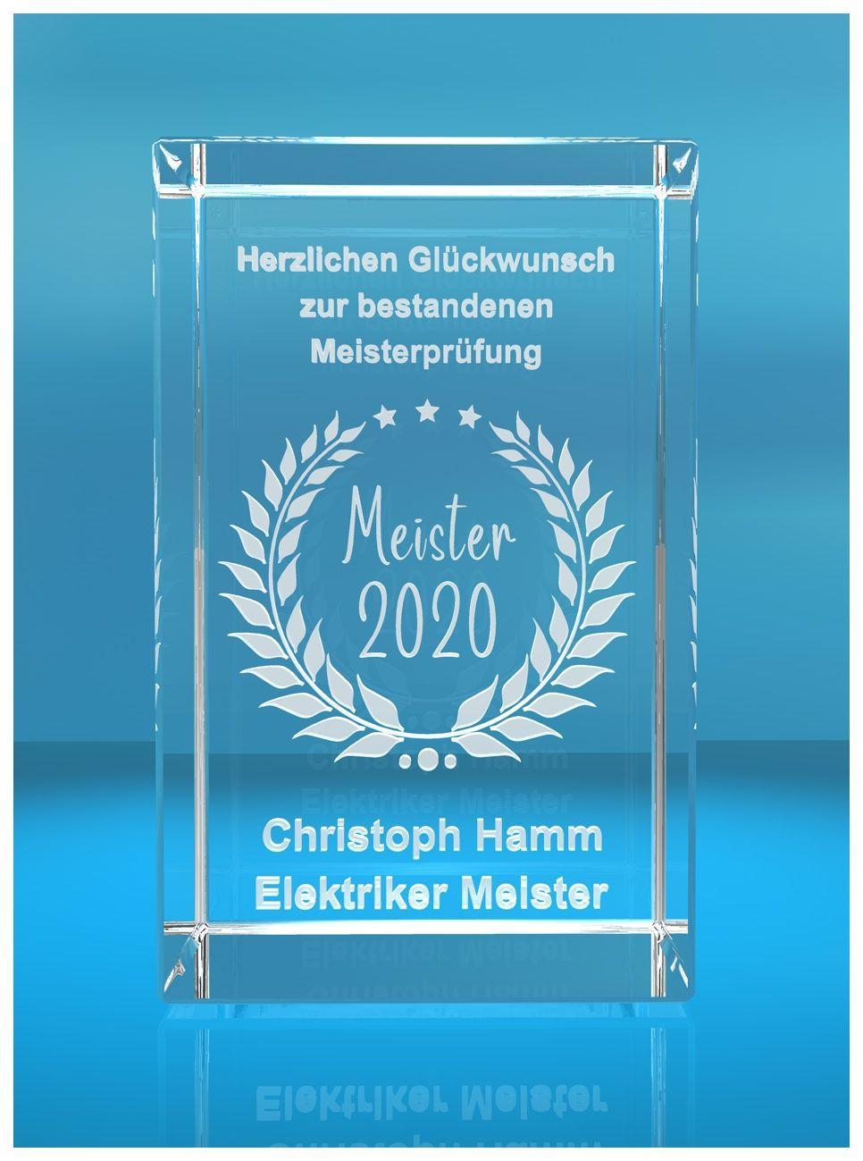 3D Glasquader   Meister 2020   Glückwunsch mit Wunschtext   Geschenk zur Meisterprüfung