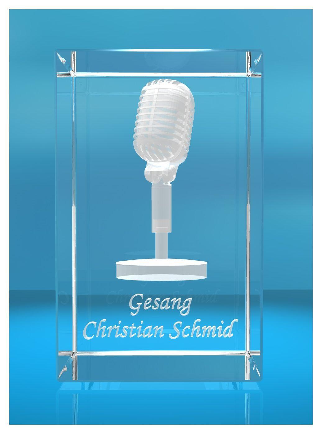 3D Glasquader |Mikrofon mit Wunschnamen |Mikrophon |Geschenk für Sänger Musiker Sängerin einer Band