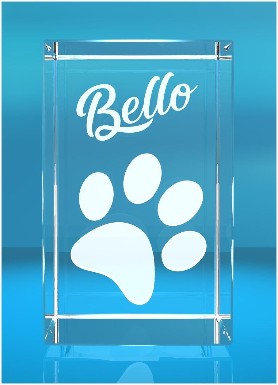 3D Glasquader I Hundepfote + Namen