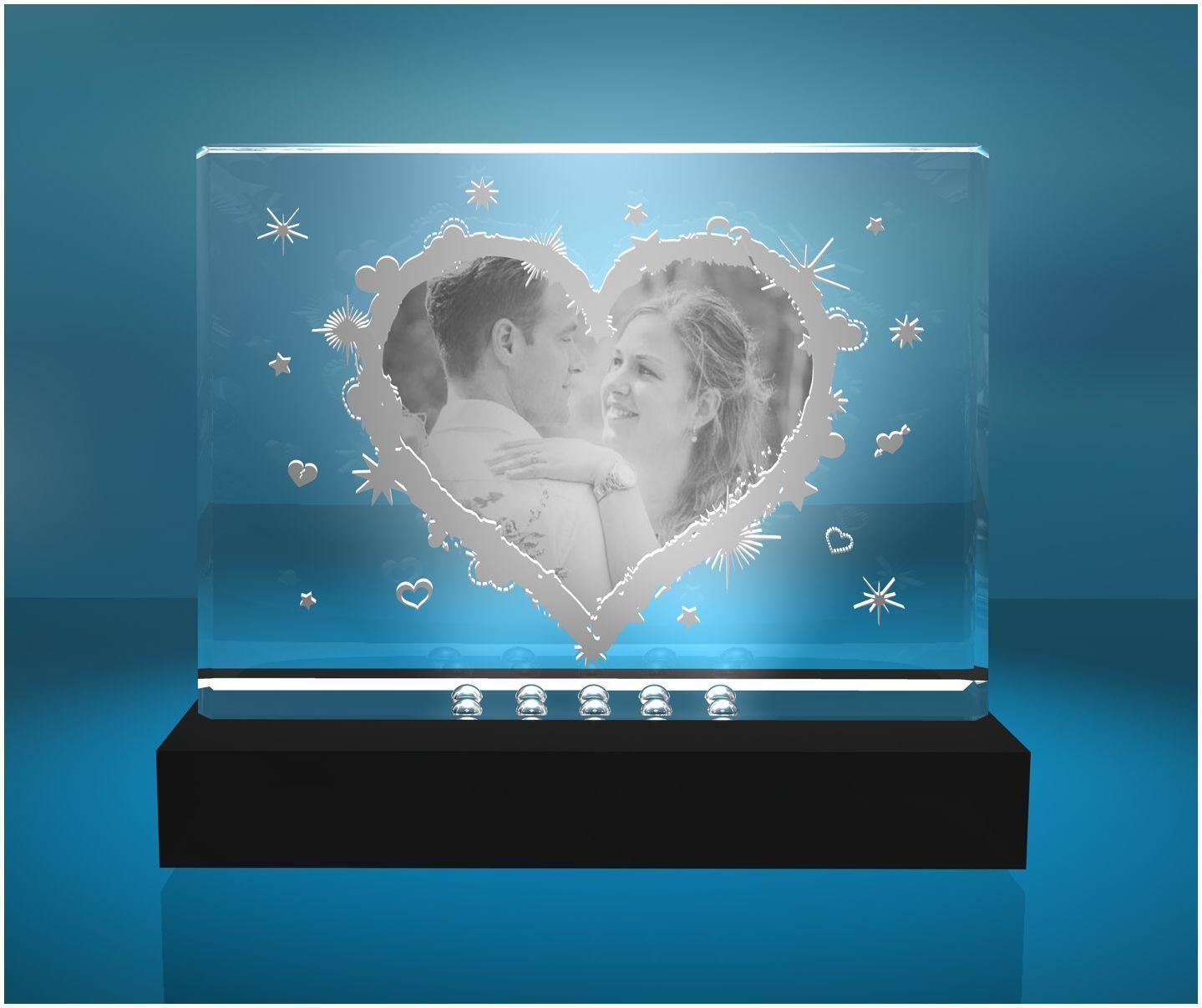 2D Glasfoto Fotoframe XL Motiv Herz mit Deinem Wunschfoto