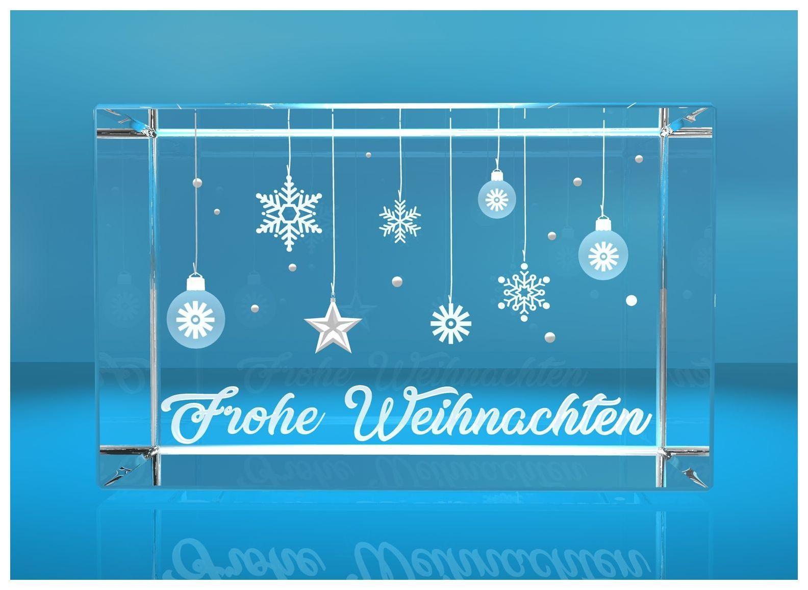 3D Glasquader I Frohe Weihnachten I Weihnachtskugeln mit Text