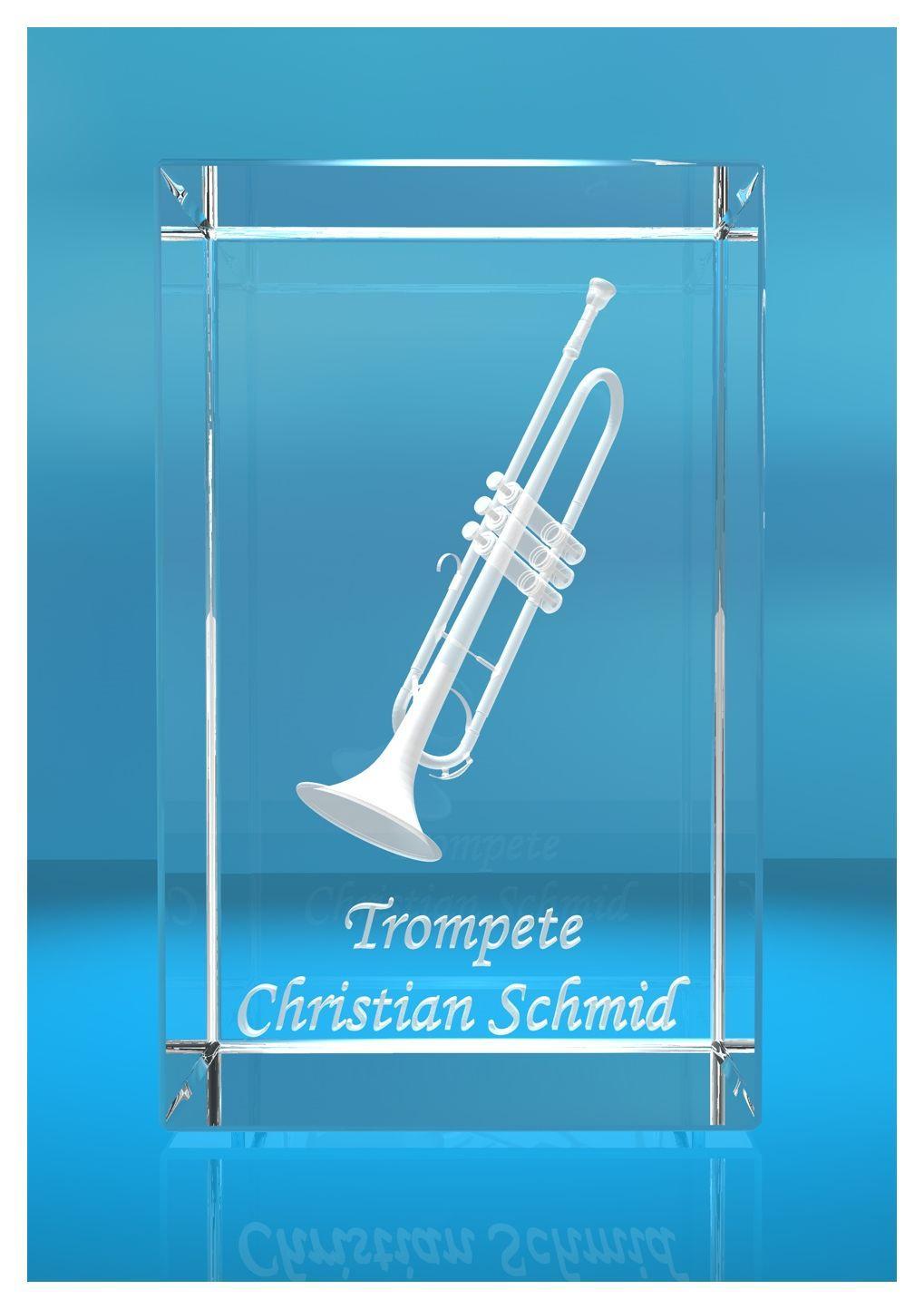 3D Glasquader |Trompete mit Wunschnamen |Blasinstrument |Geschenk für Trompetenspieler Musiker Orchester