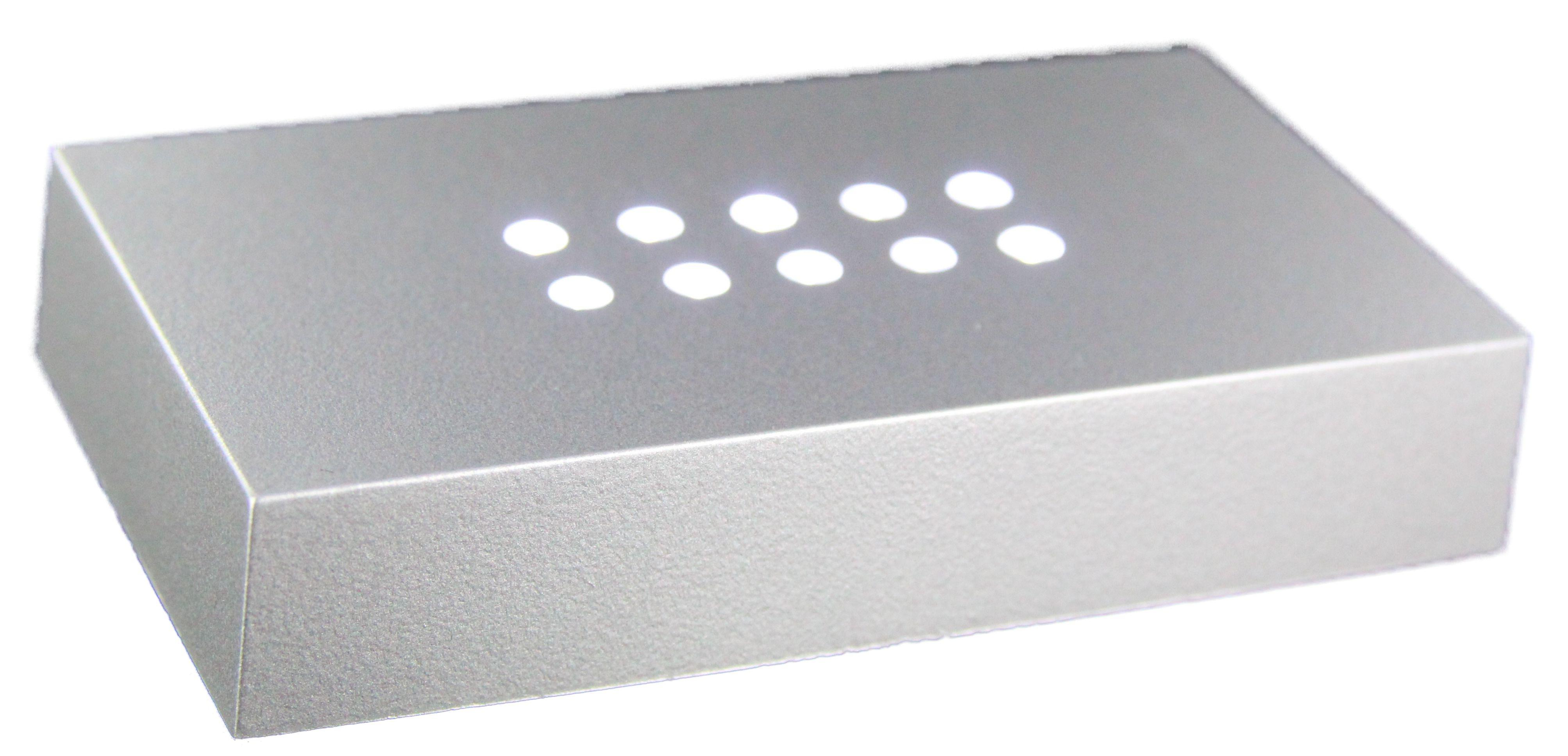 LED LEUCHTSOCKEL   10 weiße LED   100x60x20mm   Farbe Silber