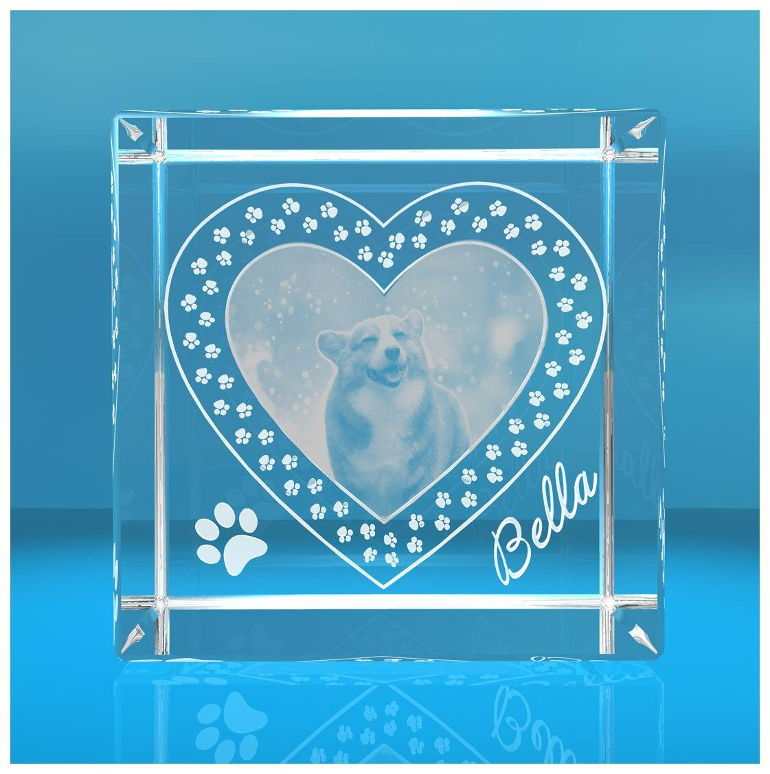 VIP-LASER I 2D I Glasfoto Kristall Würfel I Gravur Deines Haustiers im Pfotenherz / Hund / Katze in 2D - Motivart: 2D Gravur - Personalisierung: Text + Fotogravur