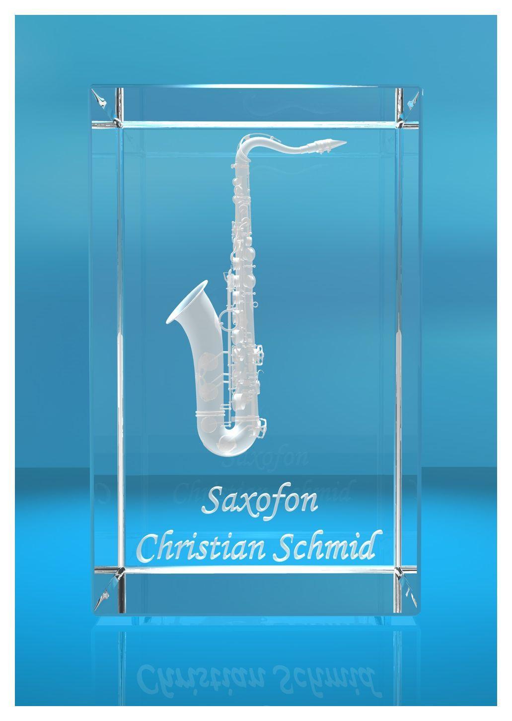 3D Glasquader |Saxofon mit Wunschnamen |Saxophon |Geschenk für Saxophonist Musiker Saxofonist