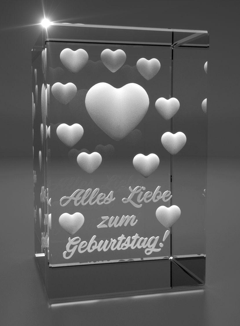 3D Glasquader   viele Herzen I Alles Liebe zum Geburtstag!