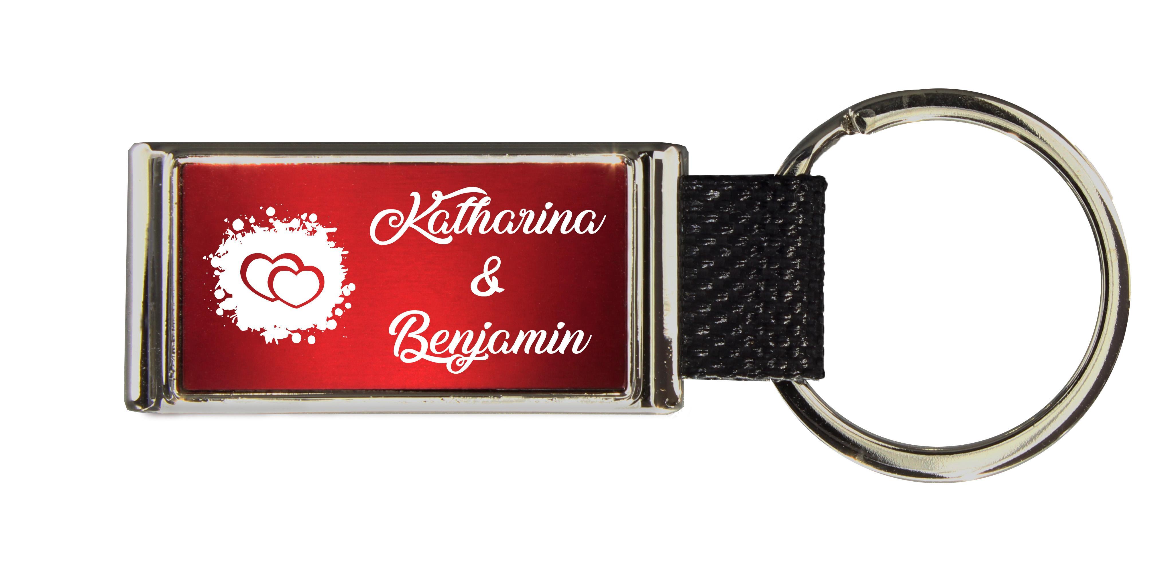 Schlüsselanhänger GLORIA   Liebesmotiv mit 2 Namen graviert   Motiv M011