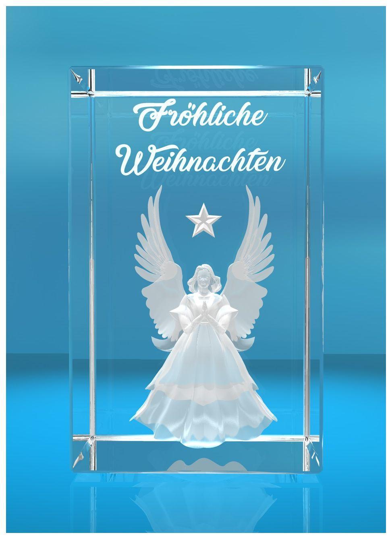 3D Glasquader I Fröhliche Weihnachten I Engel I Geschenk I Weihnachtsengel
