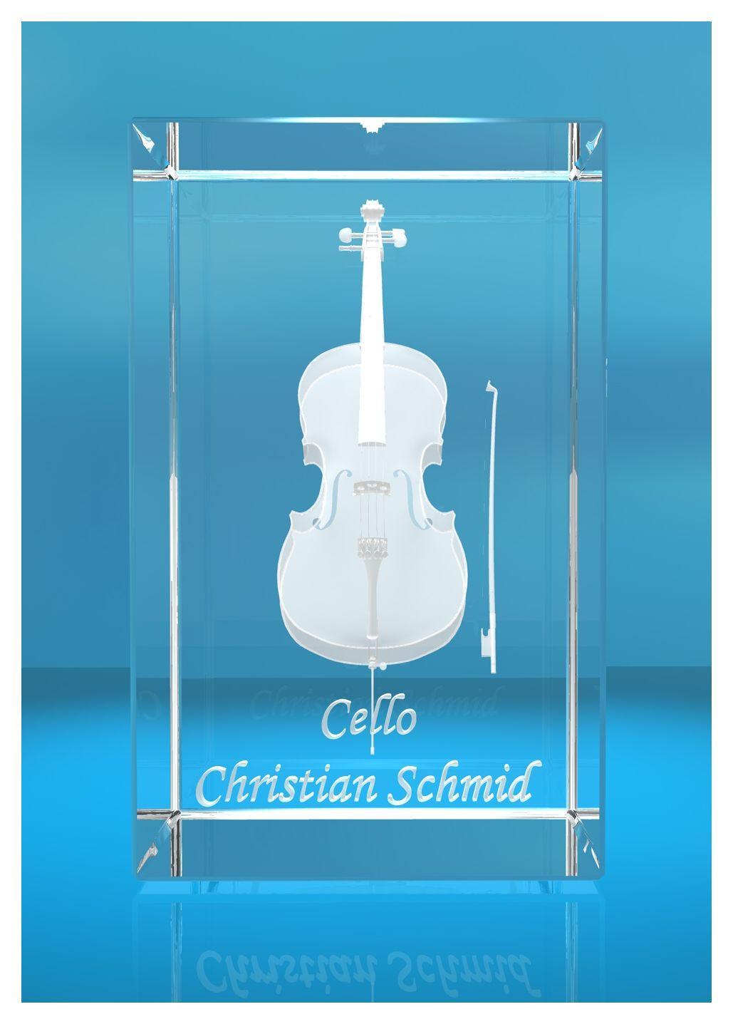 3D Glasquader | Cello mit Wunschnamen | Geschenk für Celloist Cellospieler | Musiker | Orchester