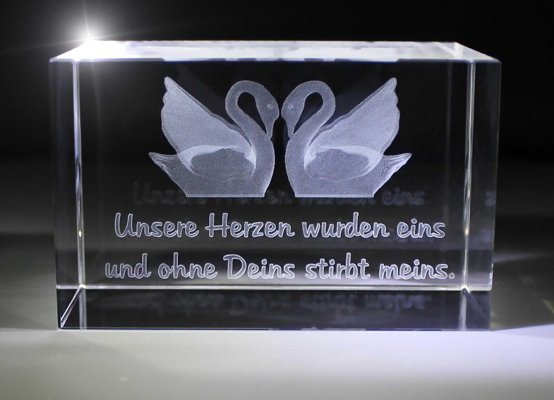 3D Glasquader   Zwei Schwäne   Unsere Herzen wurden eins, doch ohne Dich stirbt meins