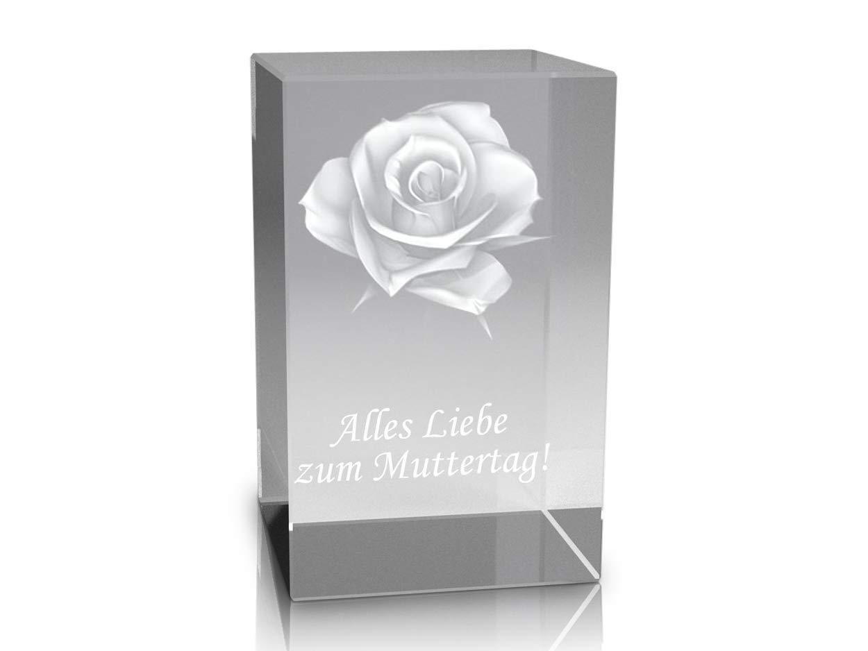 3D Glaskristall Rose mit Text 'Alles Liebe zum Muttertag'