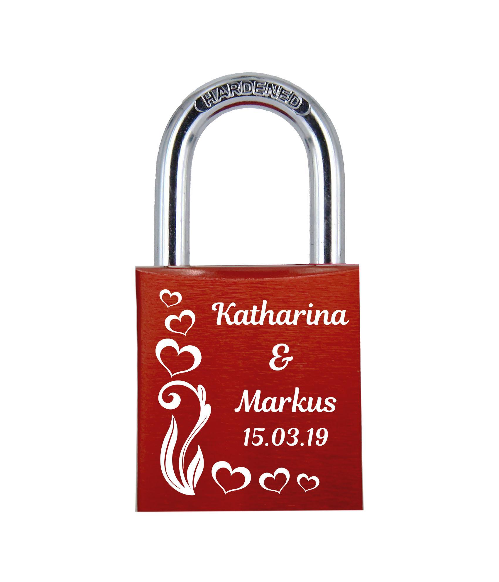 ELUNO Liebesschloss mit Deinem Namen, Datum und Verzierung mit Herzen! Farbe: Rot Motiv: M017