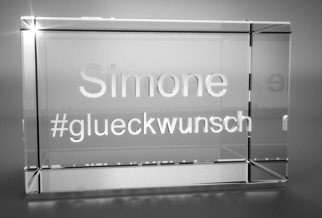 3D Glasquader   Motiv Hashtag   Glückwunsch + Wunschtext