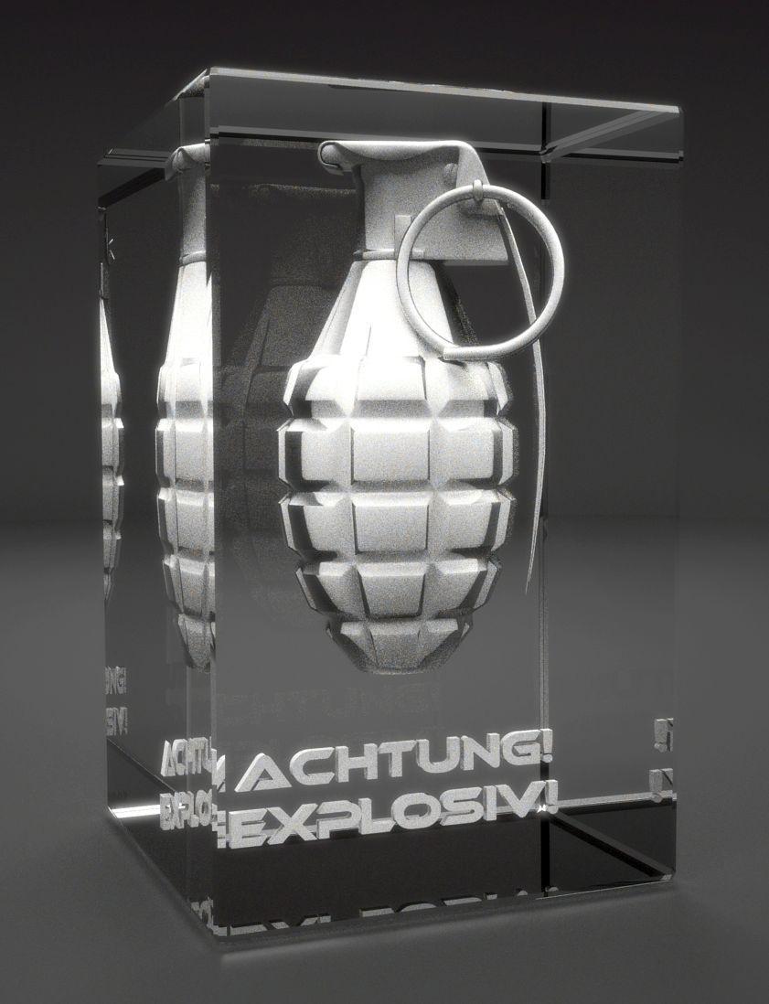 VIP-LASER I 3D Glaskristall    Handgranate I Gravur : Achtung Explosiv