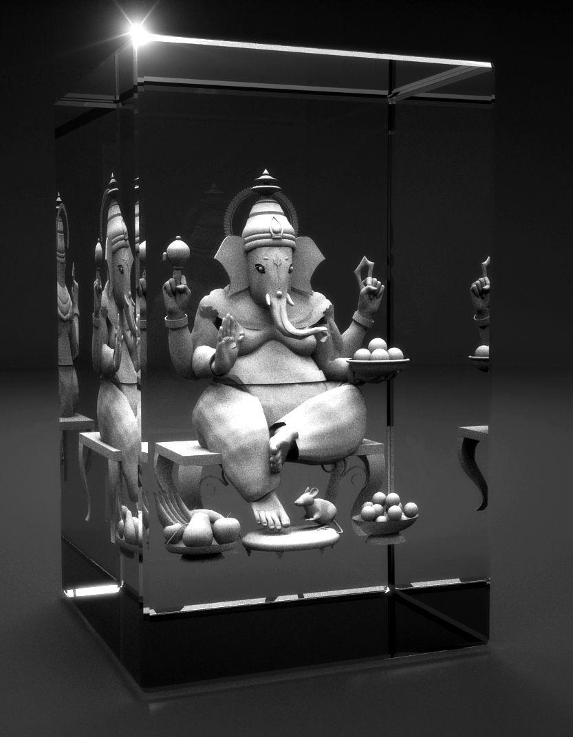 3D Glasquader   Motiv: Ganesha