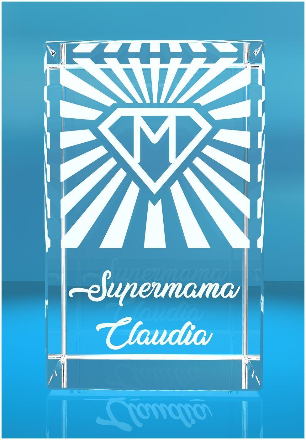 3D Glasquader I Supermama mit Deinem Namen graviert