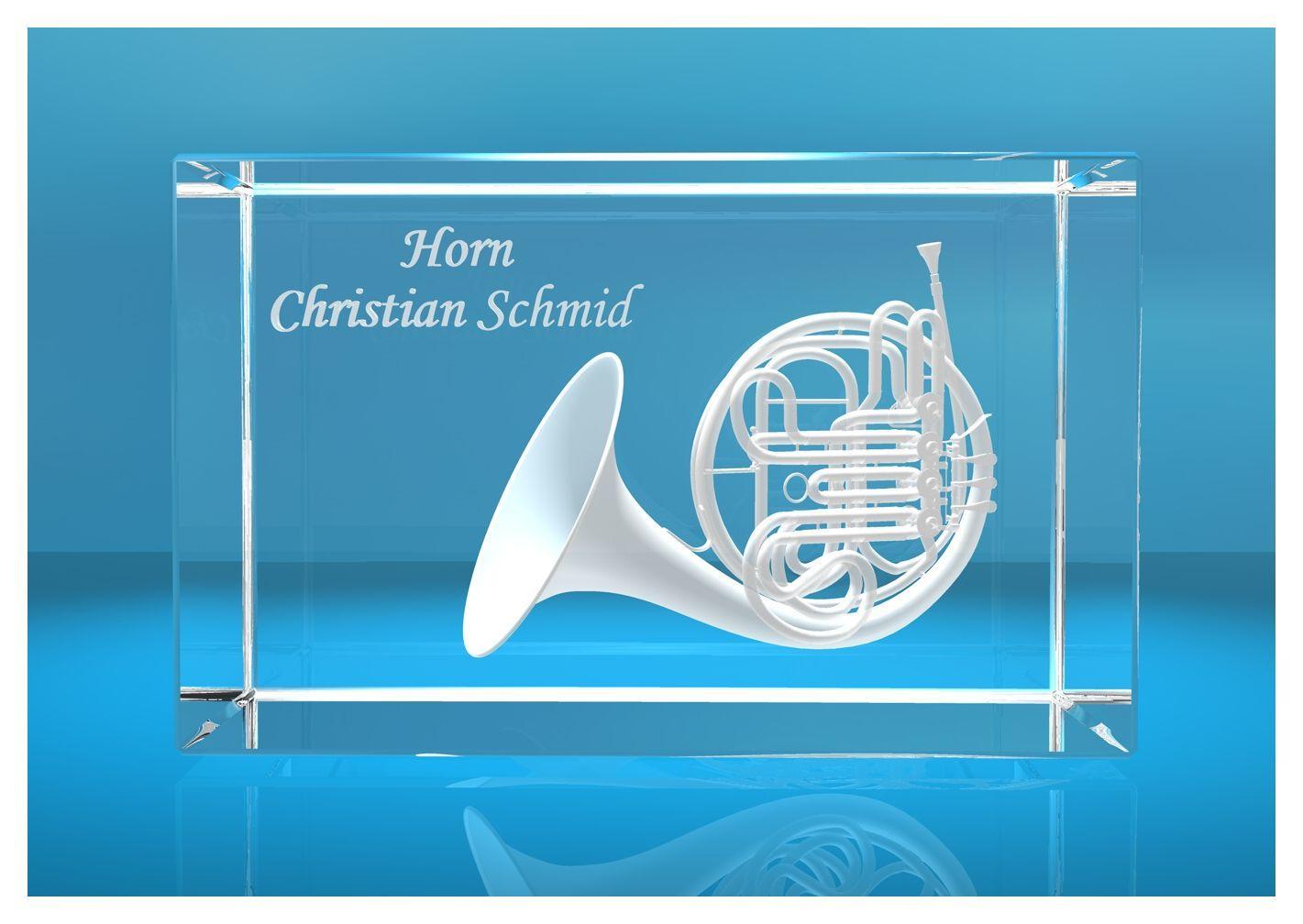 3D Glasquader |Horn mit Wunschnamen | Geschenk für Hornspieler Musiker