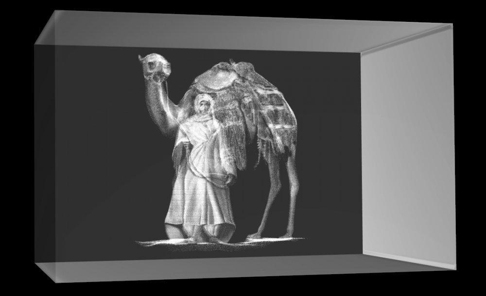 3D Glasquader   Beduine mit Kamel