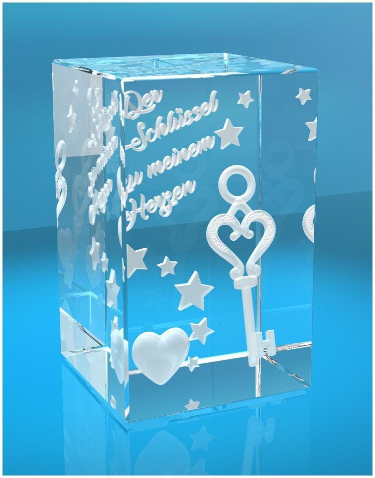 3D Glasquader I Schlüssel zu meinem Herzen