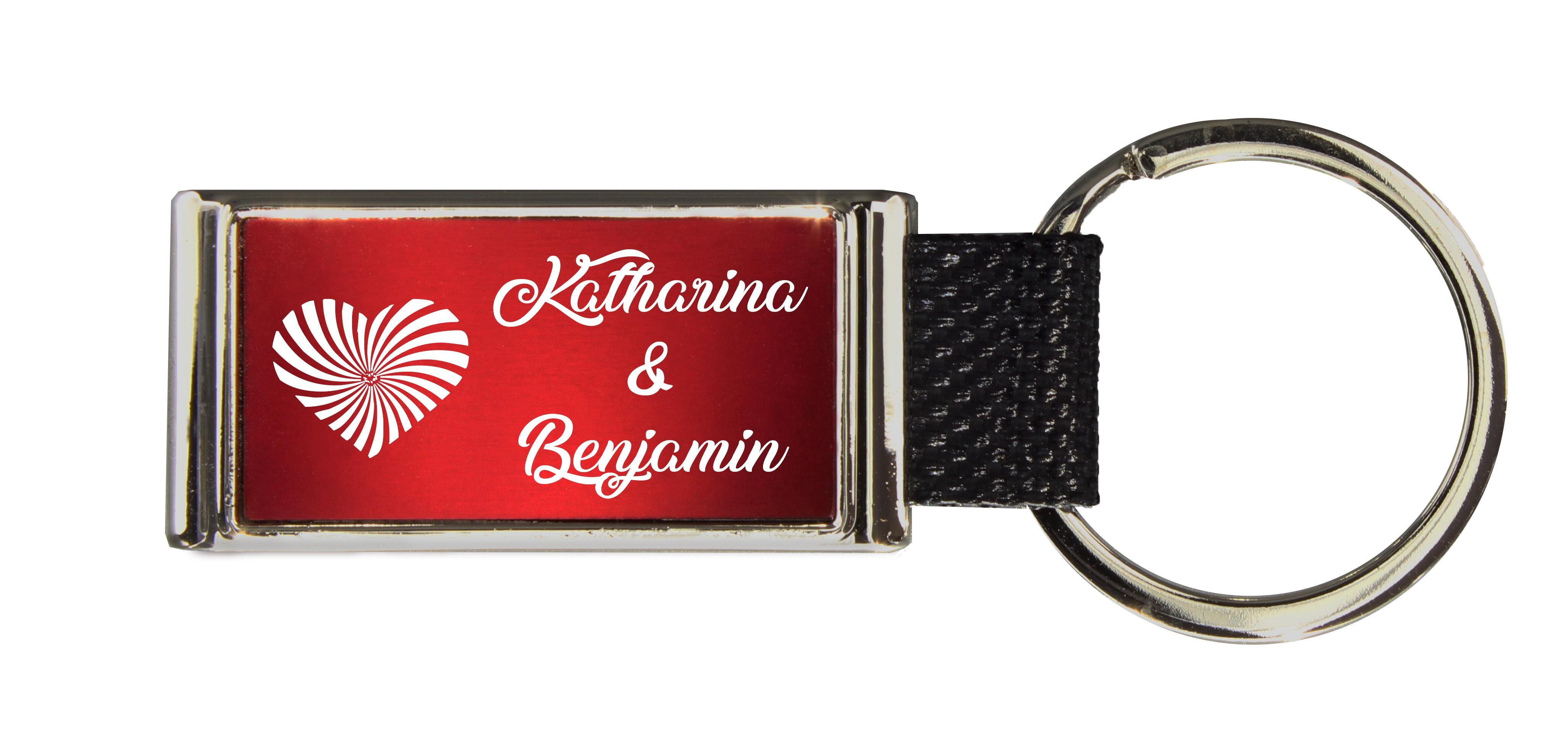 Schlüsselanhänger GLORIA   Liebesmotiv mit 2 Namen graviert   Motiv M019
