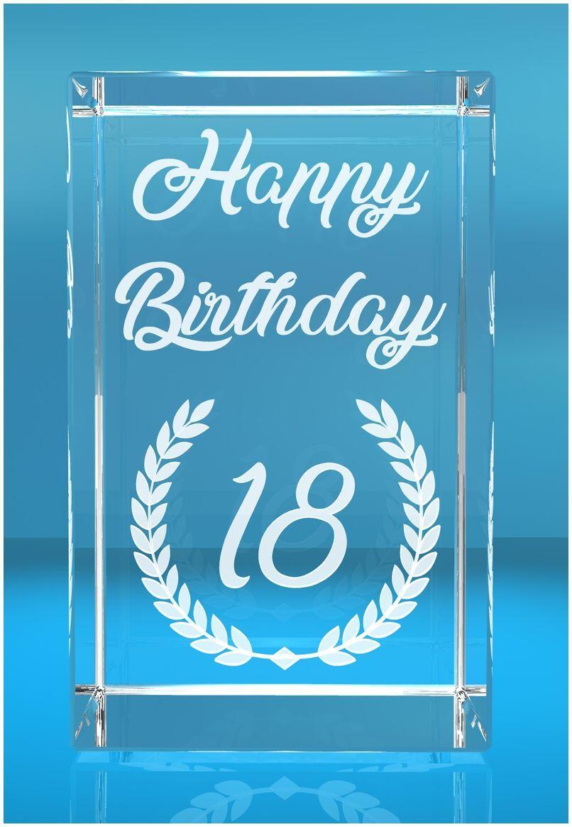 VIP-LASER   2D Glaskristall   Lorbeerkranz Happy Birthday   Dein Jahr