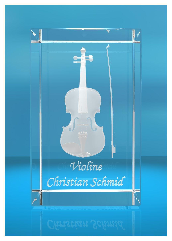 3D Glasquader | Violine mit Wunschnamen | Geschenk für Violinist Violinistin | Musiker | Orchester | Geige |Geiger