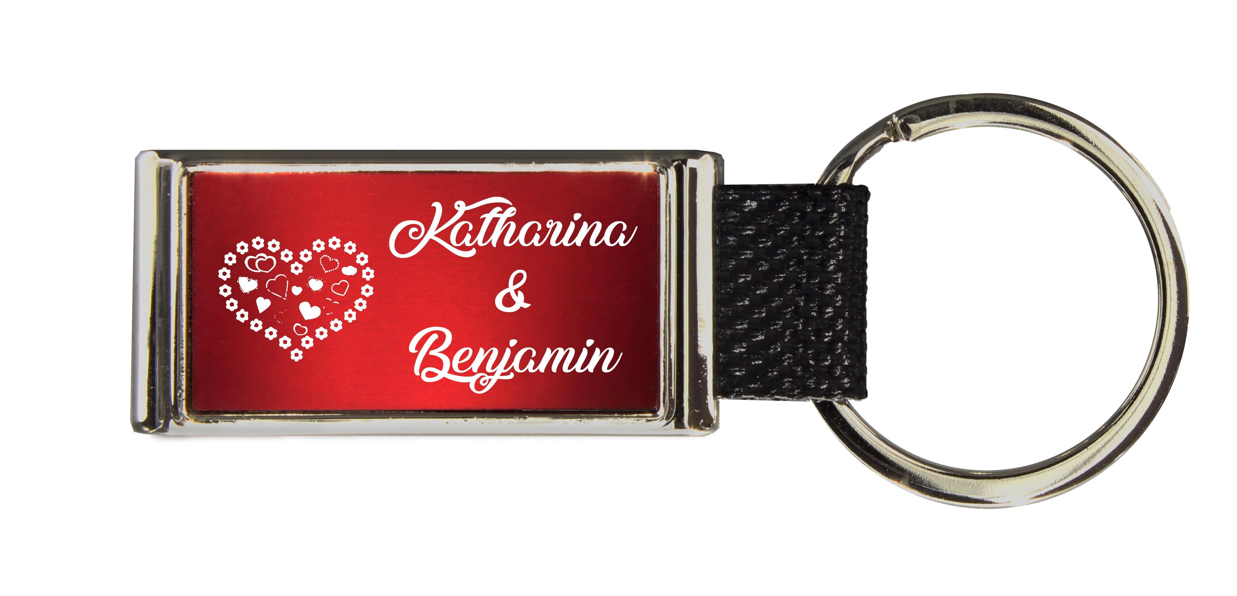 Schlüsselanhänger GLORIA   Liebesmotiv mit 2 Namen graviert   Motiv M013