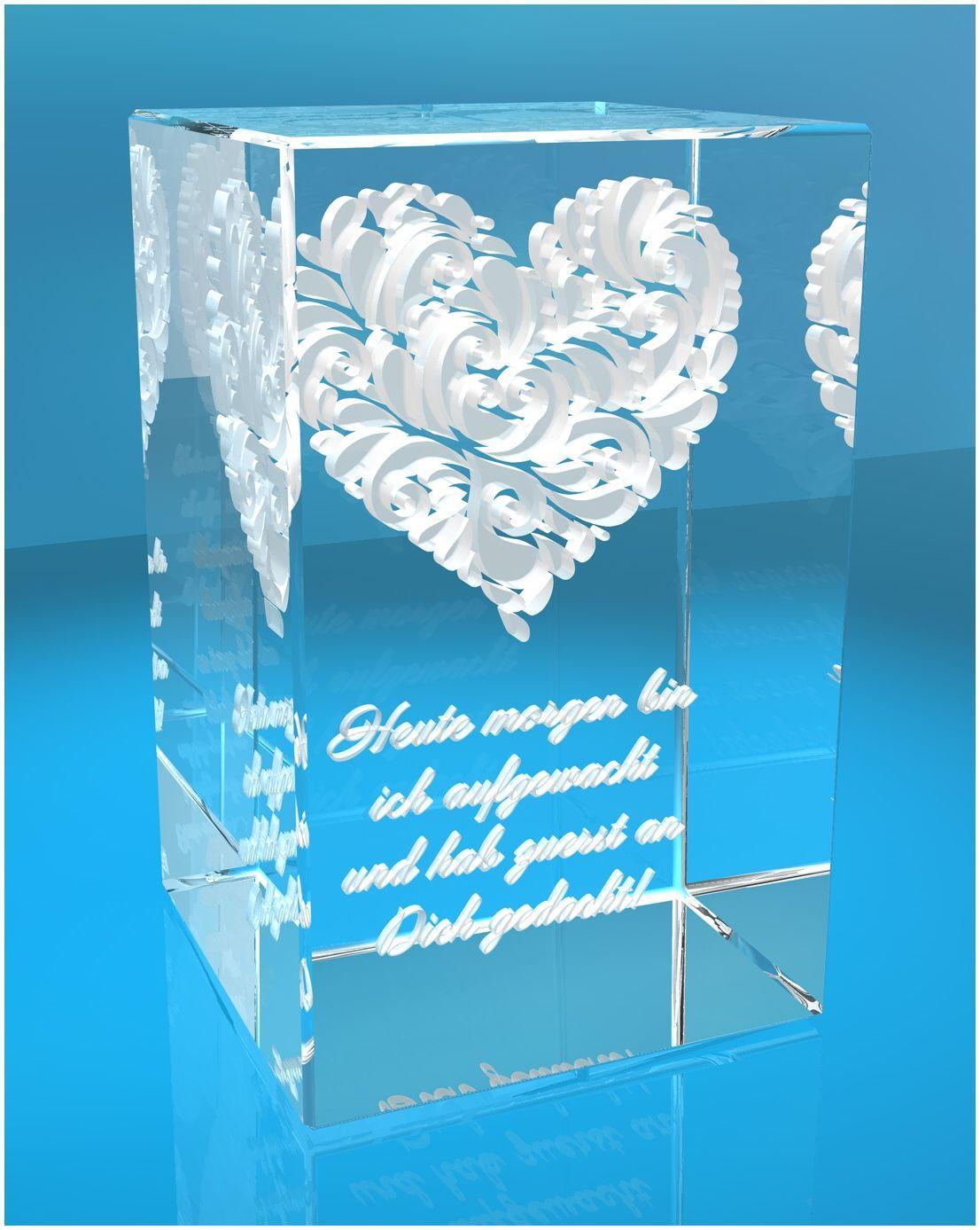 3D Glasquader   verziertes Herz   Heute morgen bin ich aufgewacht und hab zuerst an Dich gedacht!