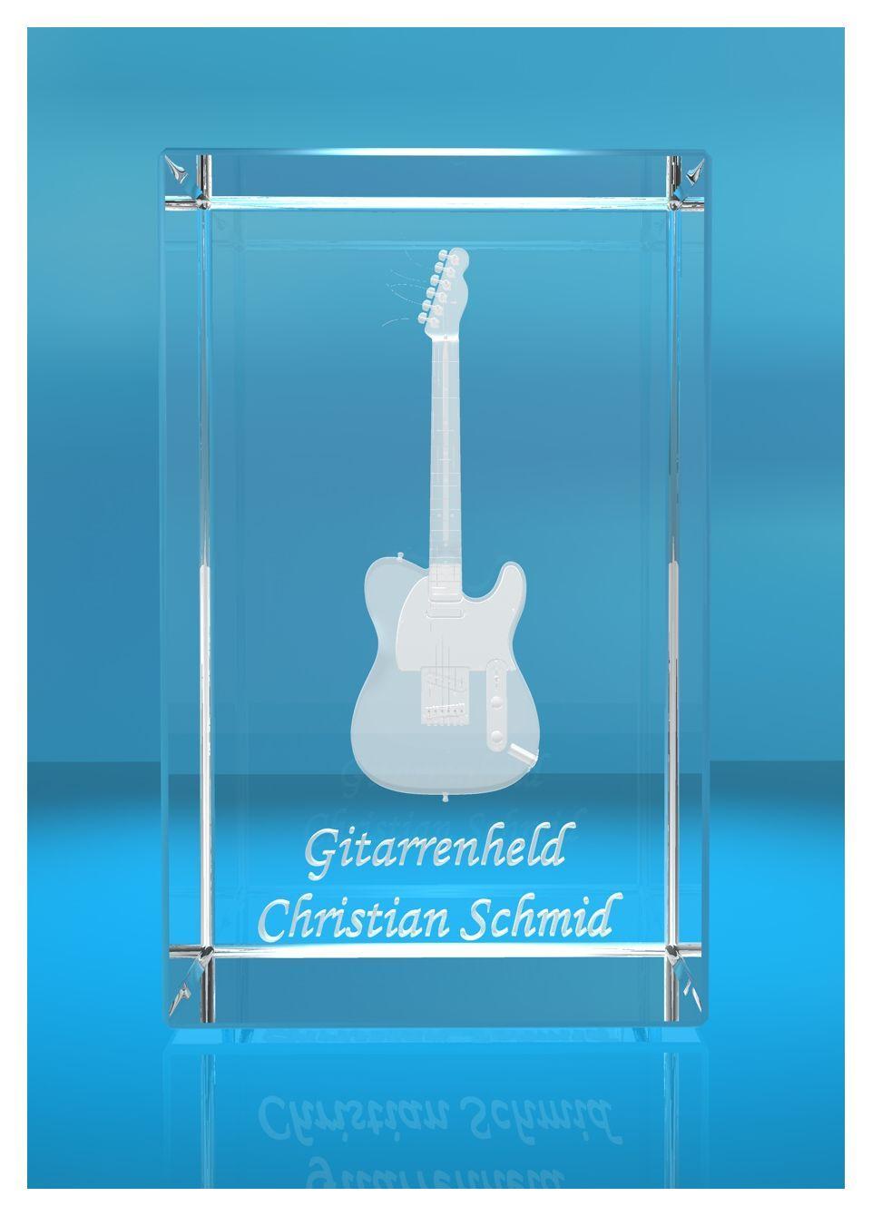 3D Glasquader | Gitarre No. 3 mit Wunschnamen | Geschenk für Gitarrist | Musiker | Bandmitglied | E-Gitarre
