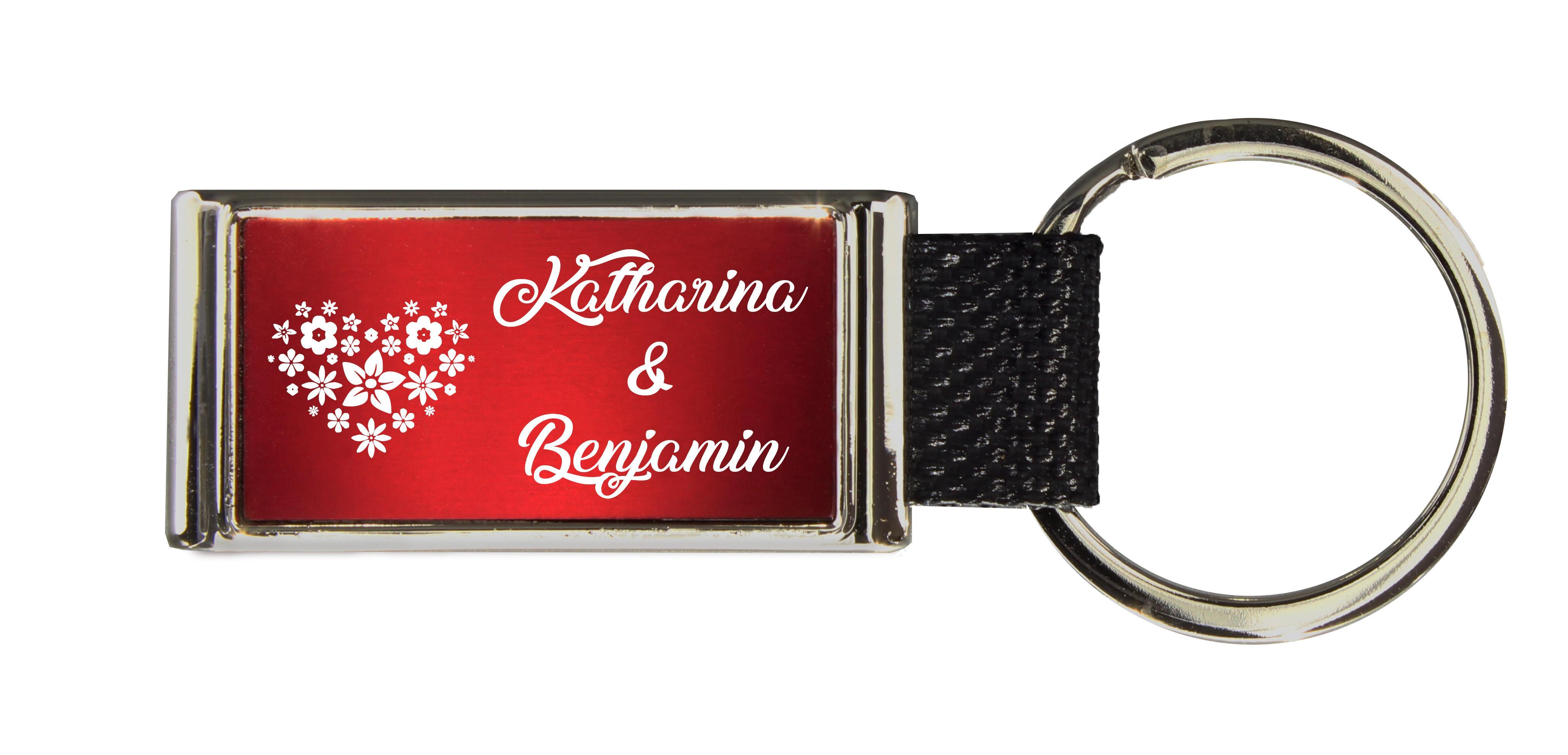Schlüsselanhänger GLORIA   Liebesmotiv mit 2 Namen graviert   Motiv M015