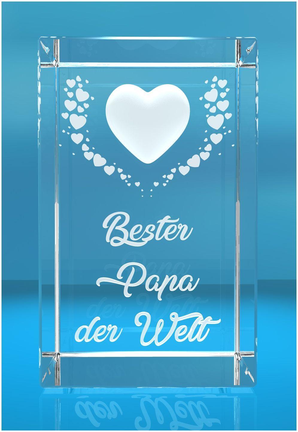 VIP-LASER   3D Kristall   Motiv: Fliegende Herzen   Bester Papa der Welt