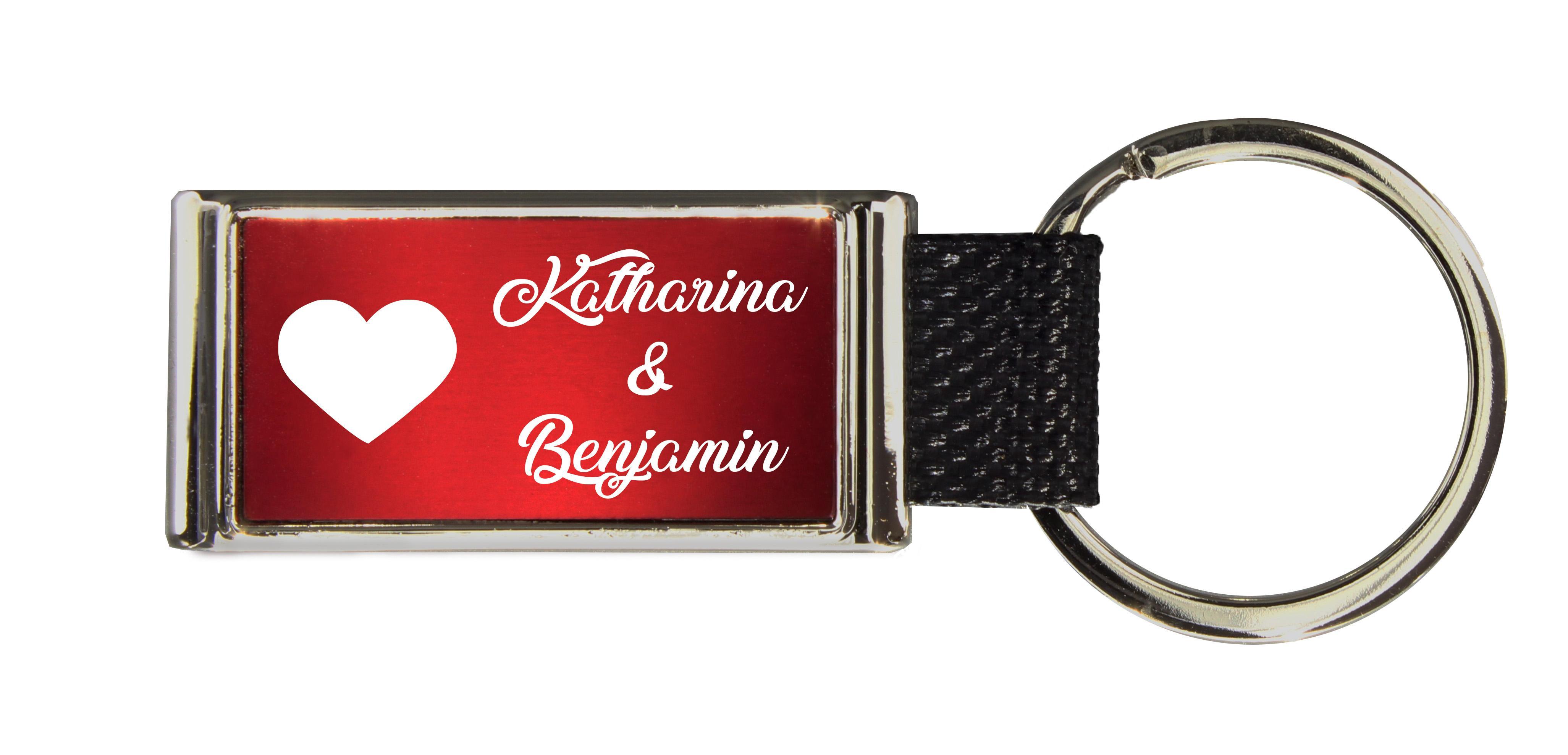 Schlüsselanhänger GLORIA   Liebesmotiv mit 2 Namen graviert   Motiv M001